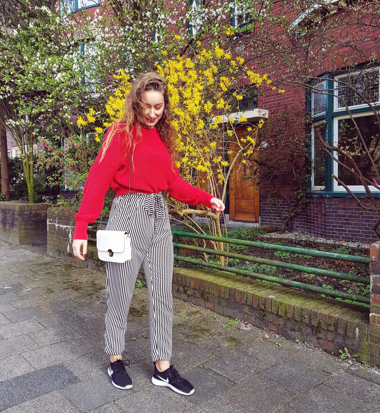 Outfit | Mijn nieuwe gestreepte broek & eindelijk lente!