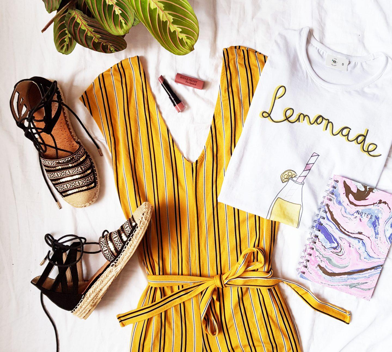 Favorieten van mei | Gele jumpsuit en marble notitieboekje!